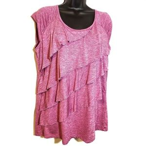3/$30 -Pink Ruffled Rafaella Sleeveless Top size L